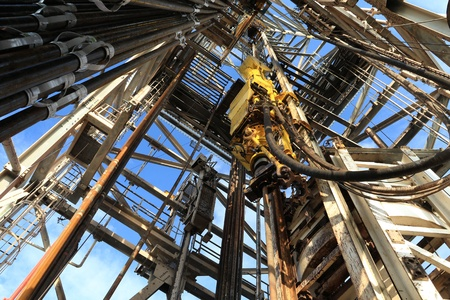 drill floor: Top Drive System (TDS) Spinning for Oil Drilling Rig