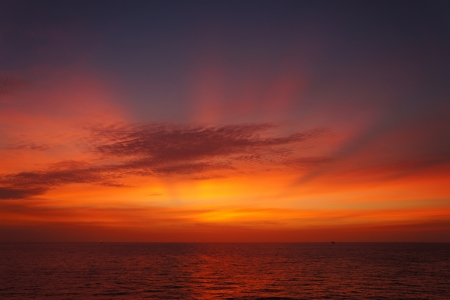 Offshore Sun Set (Red and Yellow Sky) photo