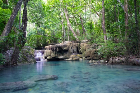 Deep forest waterfall (Erawan Waterfall) in Thailand Stock Photo - 16917061