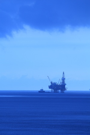 Silhouette Offshore Jack Up Drilling Rig and Boat (BlueTone) photo