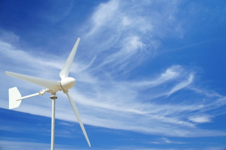 Wind Turbine , Blue Sky and Thin Cloud