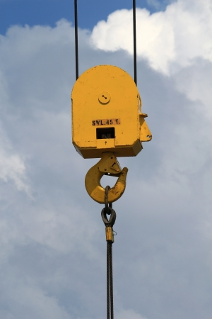 crane parts: Heavy Duty Crane Hook with 45 Tons Working Load on a Blue Sky