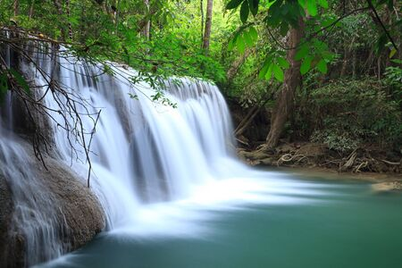 torrent: Deep forest Waterfall in Kanchanaburi, Thailand