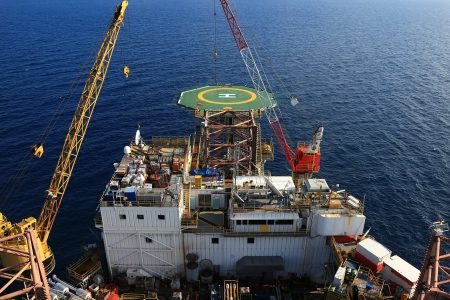 oilrig: Top View of Offshore Drilling Rig Towards The Bow Leg