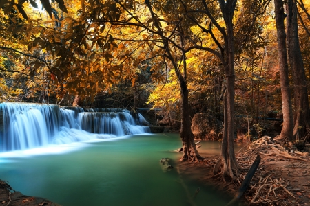 Autumn Deep forest waterfall (Erawan Waterfall) in Thailand