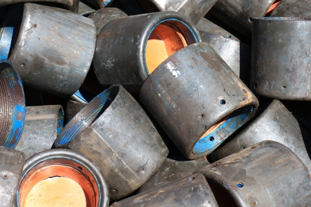 protectors: Old Casing Protectors After Use - Equipment For Oilfield Stock Photo
