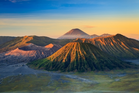 Bromo Volcano Mountain in Tengger Semeru National Park at sunrise, East Java, Indonesia photo