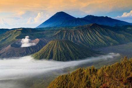 tengger: Bromo Mountain in Tengger Semeru National Park at sunrise, East Java, Indonesia Stock Photo