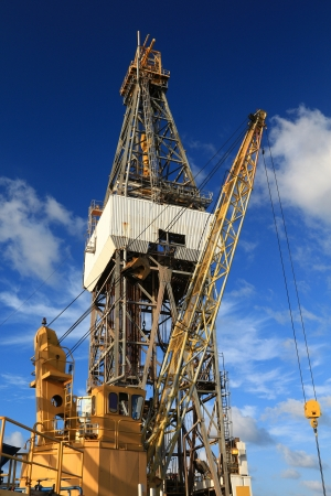 Offshore Drill Rig and Rig Crane with Blue Sky