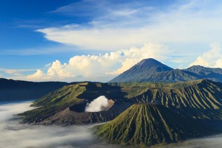 Bromo Mountain in Tengger Semeru National Park at sunrise, East Java, Indonesia Stock Photo