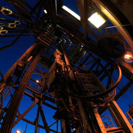 Top Drive System and Drilling Rig Derrick with Fish Eye Angle Perspective - Square