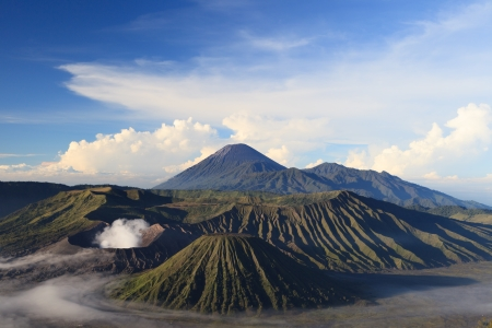 Bromo Mountain in Tengger Semeru National Park at sunrise, East Java, Indonesia Stockfoto