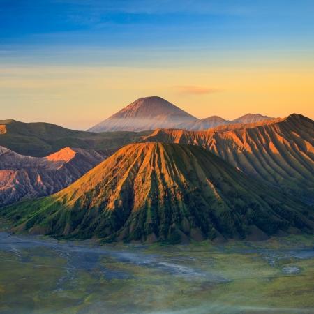 tengger: Bromo Volcano Mountain in Tengger Semeru National Park at sunrise, East Java, Indonesia Stock Photo