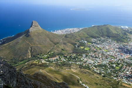 cape town: Aerial View of Cape Town Coastline  South Africa Stock Photo