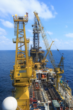Derrick of Tender Drilling Oil Rig on The Production Platform Stok Fotoğraf