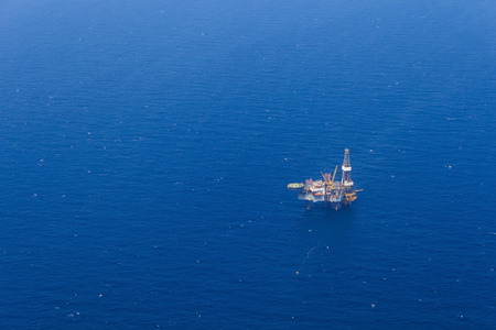 oil rig: Aerial View of Offshore Jack Up Drilling Rig in The Middle of The Ocean