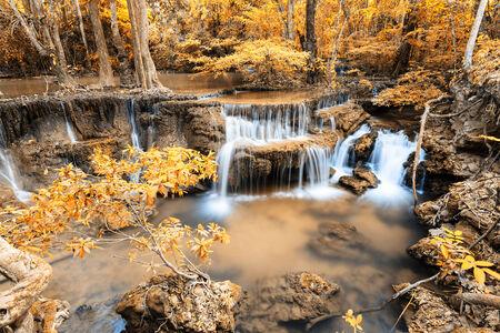 huay: Autumn Deep forest Waterfall in Kanchanaburi  Huay Mae Kamin , Thailand