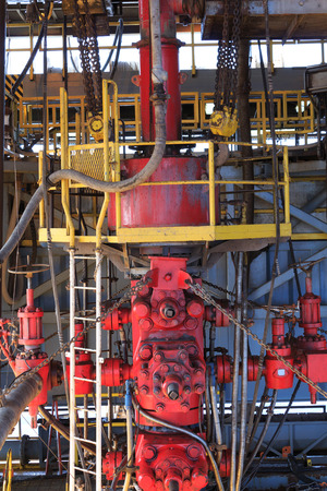 out of production: Blow Out Preventer (BOP) for Drilling Oil Rig Stock Photo