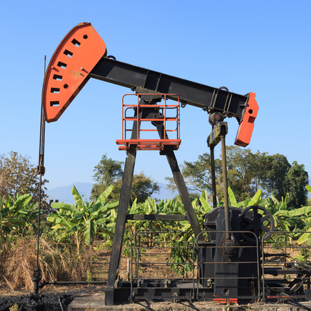 Oil Pump Jack (Sucker Rod Beam) in The Banana Field on Sunny Day Stock Photo