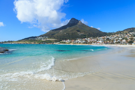 Beautiful Camps Bay Beach and Lion Head Mountain Chain, Cape Town, South Africa Stok Fotoğraf