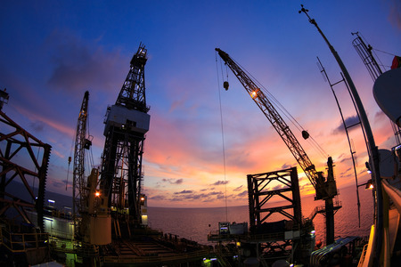 Jack Up Offshore Oil Drilling Rig with Fish Eye Angle Perspective Stock Photo