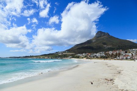cape town: Beautiful Camps Bay Beach and Lion Head Mountain Chain, Cape Town, South Africa Stock Photo