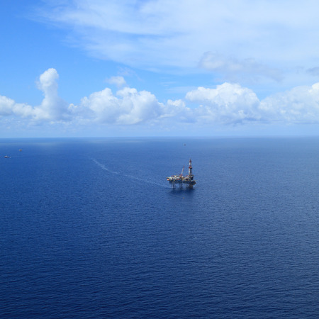 well platform: Aerial View of Offshore Jack Up Drilling Rig in The Middle of The Ocean