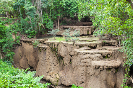 dry stone: Dry Out Waterfall Drought Condition in Kanchanaburi (Huay Mae Kamin), Thailand