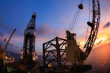 offshore jack up rig: Jack Up Offshore Oil Drilling Rig with Fish Eye Angle Perspective Stock Photo