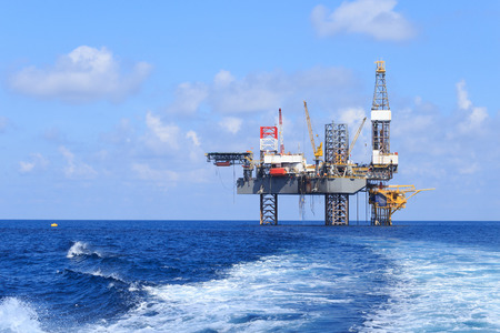 offshore jack up rig: Offshore jack up in The Middle of The Sea