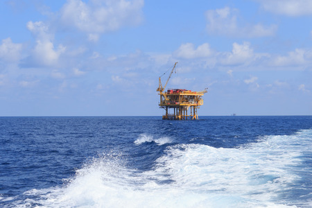 construction platform: Offshore Production Platform in the Middle of Ocean for Oil and Gas Production