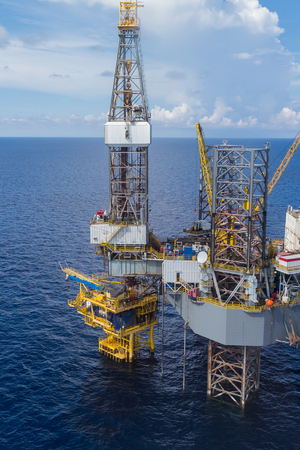 oil industry: Aerial View of Offshore Jack Up Drilling Rig in The Middle of The Ocean