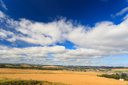 Wheat field and blue sky with clouds at shore line close to North sea, Aberdeen, Scotland, UK Stock Photo