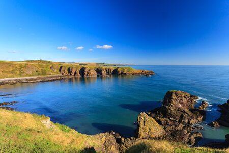 dunnottar castle: Beautiful landscape of hill and rock at Dunnottar castle area, Aberdeen Scotland, UK