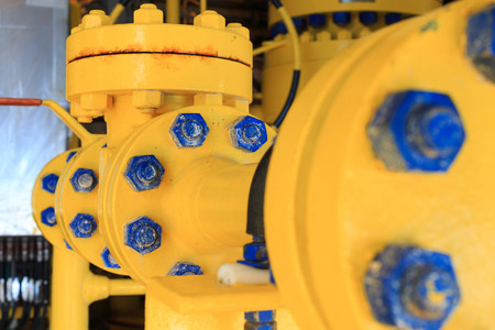 production facility: Check valve in a production facility to control flow direction Stock Photo