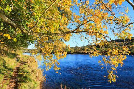 Autumn Landscape and River Dee in Aberdeen, Scotland UK