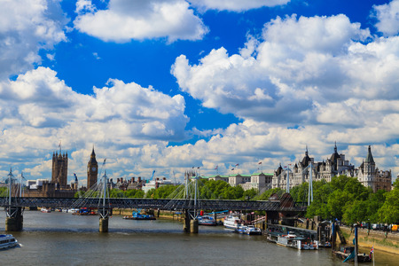 city and county building: LONDON, UNITED KINGDOM – 23 MAY 2016: Jubilee bridge, Big Ben and Westminster Abbey in London, United Kingdom