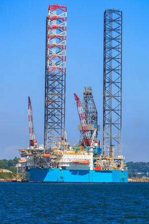 dundee: Jack up oil drilling rig in the shipyard for maintenance in Dundee, Scotland, UK