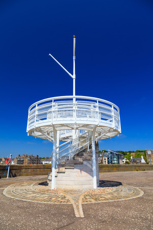 Small sightseeing tower close to the Broughty Castle at Beach Cres, Dundee, Scotland Editorial