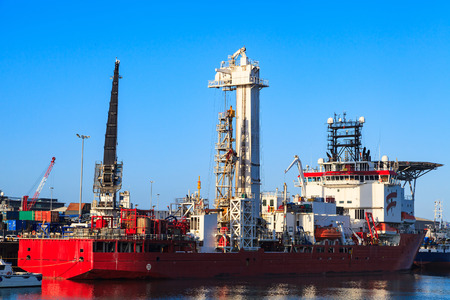 subsea: Light Well Intervention Boat (Mono Hull Vessel) - Offshore Diving Support vessel at Aberdeen harbor before going offshore