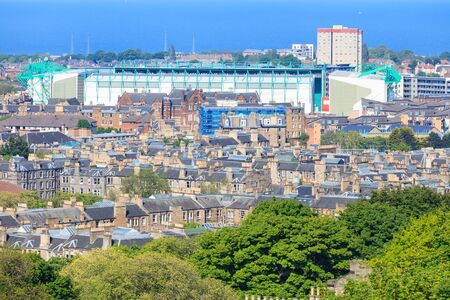 nelson: Edinburgh city aerial view and football stadium as seen from Nelson monument