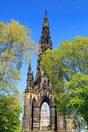 princes street: Scott Monument in Edinburgh, Scotland, UK Stock Photo