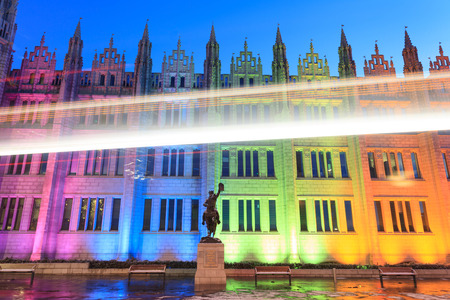 ABERDEEN SCOTLAND -14 FEBUARY 2016 : Marischal College view in the evening. Marischal college became Aberdeen City Council headquarters in 2011. Editorial