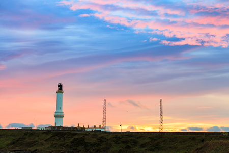Girdle Ness lighthouse During Sunrise in Aberdeen, Scotland UK Stock Photo