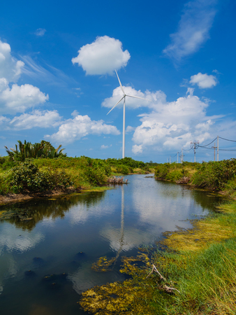 water turbine: Wind turbines in a wind farm for green electricity generation in Nakhon Si Thammarat, Thailand