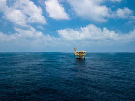 Aerial View of Offshore Production Platform in the Middle of Ocean for Oil and Gas Production