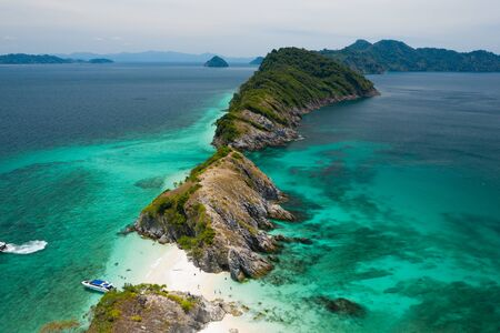 Aerial view from a drone of beautiful Cocks Comb island on sunny day in Myanmar Zdjęcie Seryjne
