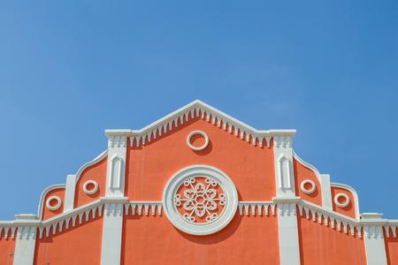 house gable: Gable of modern house with blue sky