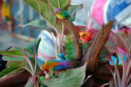 model birds  on plant in flowerpot