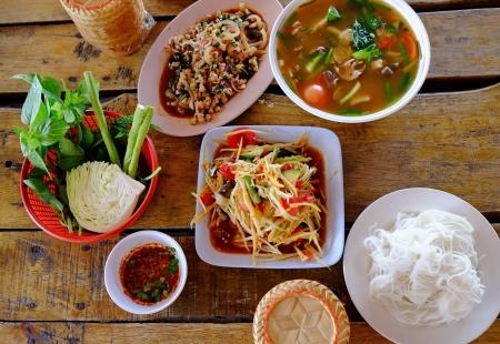 Thai papaya salad or Som Tum  traditional thai food  photo
